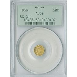 California Fractional 50c 1856, Octagon gold, PCGS graded AU50