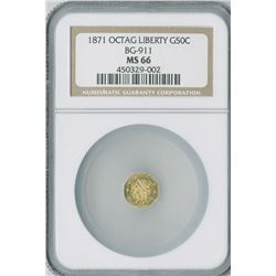 California Fractional Gold 50c 1871, Octagon Liberty gold, BG-911, NGC graded MS66