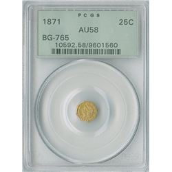 California Fractional Round Liberty 25c 1871, gold PCGS graded AU58