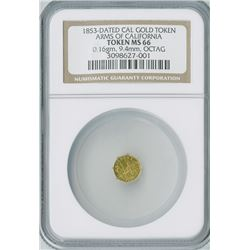 California Gold Token Octagon 1853,  CA Arms, gold, NGC graded MS66