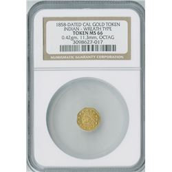 California Gold Token Octagon 1858,  Indian Wreath gold, NGC graded MS66