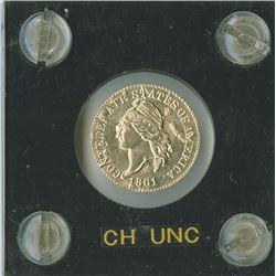 Confederate 1c 1861  Restrike gold  CH UNC