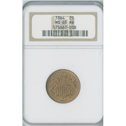 U.S. Shield 2c 1864,  Large Motto copper, NGC graded MS65RB