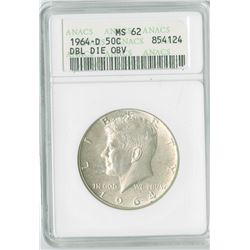 JFK 50c, 1964 D, Double Die Obverse, silver, ANA graded MS62PL