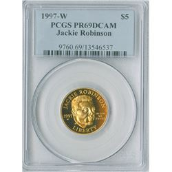 U.S. Jackie Robinson Commemorative, $5 1997 W, gold, PCGS graded PR69DCAM