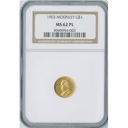U.S. McKinley Commemorative $1 1903, gold, NGC graded MS62PL