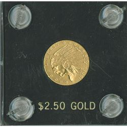 Indian, $2.50, 1908,  Eagle Reverse, gold, AU/UNC