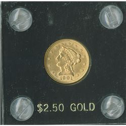 Liberty $2.50 1901, Eagle Reverse, gold  UNC.