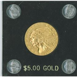Liberty $5 1908  Eagle Reverse, gold, UNC