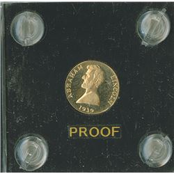 "Lincoln ""A Token"",  1939,  /27 Rev. gold  Proof"