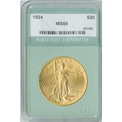 St. Gaudens $20, 1924 gold, NTC graded MS66
