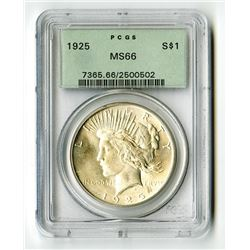 U.S. Silver Dollars, 1925-P, PCGS graded MS66.