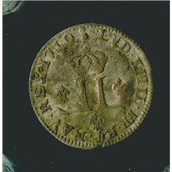 France, Louis XIV, 1710 AA (Metz), 30 Deniers = 2 1/2 Sols, DY#1584, Gad#162, Silver Coin.