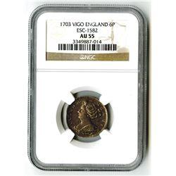 England. 1703 Vigo 6 Pence.