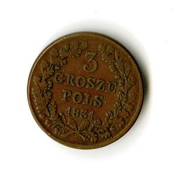 Poland, Revolutionary Coinage, 1831, 3 Grosze