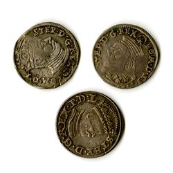 Poland, Stephan Bathori, 1581-1586, Trio of Silver Coins