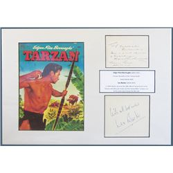 Edgar Rice Burroughs Author and Lex Barker Ð Tarzan, Signed Card, ca.1926.
