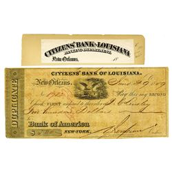 Citizens' Bank of Louisiana, 1859, First of Exchange with Proof title from ABN Archives.