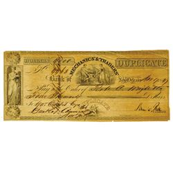 Mechanics' & Traders' Bank of New Orleans, 1847 Duplicate Check