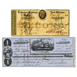 New Orleans Check and Bill of Exchange Pair, 1844-1857.