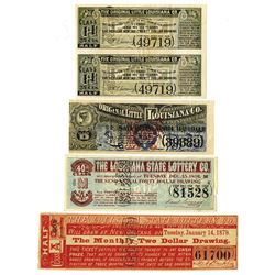 Louisiana Lottery Ticket Assortment, ca.1879 to 1903.