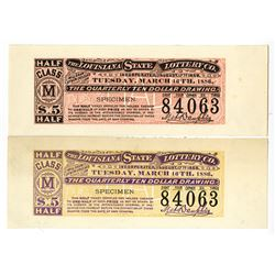 Louisiana State Lottery Co., 1886 Lot of 2 Specimen Trial Color Lottery Tickets from Hamilton BNC.