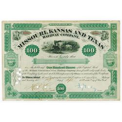 MKT 1880 Issued Stock Certificate Signed by Jay Gould as President.