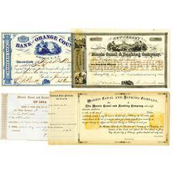 Morris Canal & Banking Co. & Bank of Orange County, ca.1850-1860 Issued Stock Certificates 4 Pieces