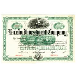 Laredo Investment Co., 189x Specimen Stock Certificate.