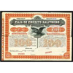 Caja De Credito Salitrero Specimen Bond.