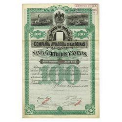 Mineral De Pachuca Compania Aviadora De Las Minas - Santa Getrudis Y Anexas 1891 Specimen Bond