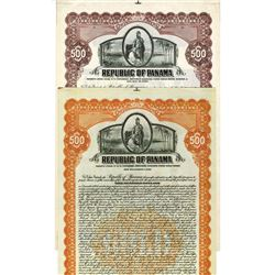 Republic of Panama, 1926 & 1928 Specimen Bond Pair.