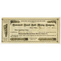 Homeward Bound Gold Mining Co., 1876 Issued Stock Certificate.