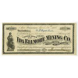 Ida Ellmore Mining Co., 1875 Issued Stock Certificate.