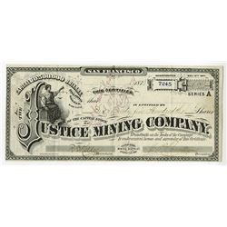 Justice Mining Co., 1878 Issued Stock Certificate.