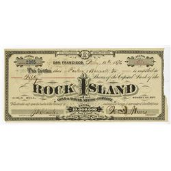 Rock Island Gold & Silver Mining Co., 1876 Issued Stock Certificate.