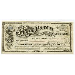 Rye Patch Consolidated  Cherry Creek Mill & Mining Co., 1875 Issued Stock Certificate Signed by Geor