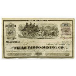 Wells Fargo Mining Co., 1875 Stock Certificate with Racing Stage Coach.