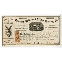 Potomac Gold and Silver Mining Co., 1863 Stock Certificate.