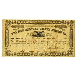 New Bedford Silver Mining  Co., 1881 Issued Stock Certificate.