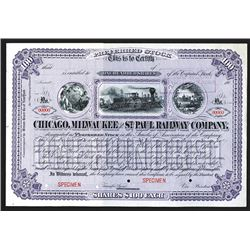 Chicago, Milwaukee and St. Paul Railway Co., 190x Specimen Preferred Stock Certificate.