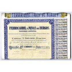Ferrocarril y Minas de Burgos, 1920 Issued Bond Lot of 50 Pieces