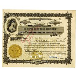 Chesapeake and Ohio Northern Railway Co., 1915 Issued Stock Certificate