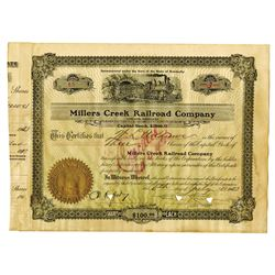 Millers Creek Railroad Co., 1923 Issued Stock Certificate