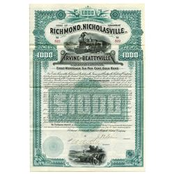 Richmond, Nicholasville, Irvine and Beattyville Railroad Co., 1889 Issued Bond