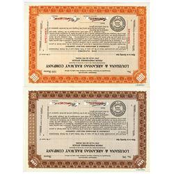 Louisiana & Arkansas Railway Co., ca.1928 Specimen Stock Certificate Pair.