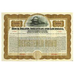 Rock Island, Arkansas and Louisiana Railroad 1906 Registered Specimen Bond.