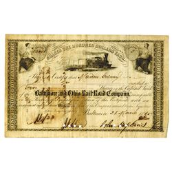 Baltimore & Ohio Rail Road Co., 1865 Issued Stock Certificate Signed by John Hopkins as President.