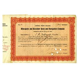 Marquette and Bessemer Dock and Navigation Co., 1905 Issued Stock Certificate