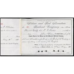 Helena and Red Mountain Railroad Stock Certificate.
